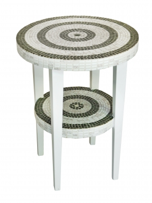 Green And White Mosaic Side Table